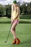 το γκολφ που αφήνεται φαίνεται φορέας προκλητική γυναίκα Στοκ Φωτογραφίες