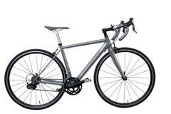 Το γκρίζα οδικά ποδήλατο/το ποδήλατο στο άσπρο υπόβαθρο που απομονώνεται Στοκ Εικόνες