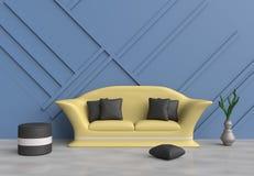 Το γκρίζο καθιστικό είναι διακοσμημένος κίτρινος καναπές, μπλε μαξιλάρια, γκρίζα καρέκλα, μαύρος ξύλινος τοίχος Στοκ Φωτογραφία