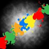 Το γκρίζο υπόβαθρο χρωμάτων σημαίνει τη ζωηρόχρωμα τέχνη και Splatters Στοκ φωτογραφία με δικαίωμα ελεύθερης χρήσης