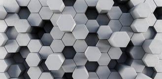 Το γκρίζο hexagons σύγχρονο υπόβαθρο τρισδιάστατο δίνει την τρισδιάστατη απεικόνιση στοκ φωτογραφία με δικαίωμα ελεύθερης χρήσης