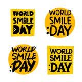 το γκρι ανασκόπησης που απομονώνεται τις αυτοκόλλητες ετικέττες σκιάζει κίτρινες Ημέρα παγκόσμιου χαμόγελου Στοκ Φωτογραφία