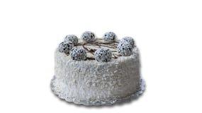 το γκρι κέικ ανασκόπησης απομόνωσε το λευκό Στοκ Εικόνες