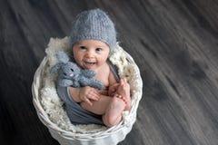 Το γλυκό αγοράκι στο καλάθι, το κράτημα και το αγκάλιασμα teddy αντέχουν, lookin Στοκ Εικόνα