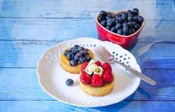 Το γλυκό μεταχειρίζεται με τα βακκίνια και τα σμέουρα Στοκ Φωτογραφία