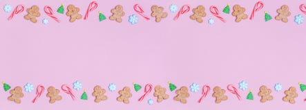 Το γλυκό Χριστουγέννων μεταχειρίζεται το υπόβαθρο σχεδίων Επίπεδος βάλτε τις διακοπές συμπυκνωμένες Στοκ εικόνες με δικαίωμα ελεύθερης χρήσης