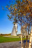 Το γλυπτό Kelpies από το Andy Scott, Falkirk, Σκωτία Στοκ Εικόνα