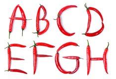 Το γράμμα Α, Β, Γ, Δ, Ε, Φ, Γ, Χ που αποτελείται από τα κόκκινα πιπέρια τσίλι Στοκ Εικόνα
