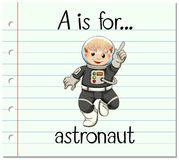 Το γράμμα Α Flashcard είναι για τον αστροναύτη διανυσματική απεικόνιση
