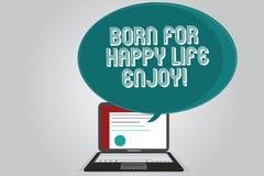 Το γράψιμο κειμένων γραφής γεννημένο για την ευτυχισμένη ζωή απολαμβάνει Έννοια που σημαίνει τη νεογέννητη ευτυχία μωρών που απολ ελεύθερη απεικόνιση δικαιώματος