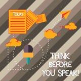 Το γράψιμο κειμένων γραφής σκέφτεται προτού να μιλήσετε Η έννοια έννοιας εξετάζει ότι τι πρόκειται να πείτε πριν από το κάνετε πλ στοκ εικόνα με δικαίωμα ελεύθερης χρήσης