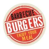 Το γραμματόσημο ή η ετικέτα με τη σχάρα Burgers κειμένων, απολαμβάνει το γεύμα σας διανυσματική απεικόνιση
