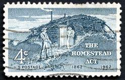 Το γραμματόσημο νόμων ΗΠΑ αγροτικών σπιτιών Στοκ φωτογραφία με δικαίωμα ελεύθερης χρήσης
