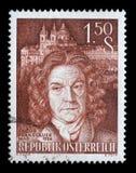 Το γραμματόσημο που τυπώνεται από την Αυστρία, παρουσιάζει πορτρέτο εικόνας του διάσημου αυστριακού μπαρόκ αρχιτέκτονα Jakob Pran Στοκ Εικόνες