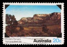 Το γραμματόσημο που τυπώνεται στην Αυστραλία παρουσιάζει σειρές Flinders, Νότια Αυστραλία Στοκ Φωτογραφία