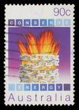 Το γραμματόσημο που τυπώνεται στην Αυστραλία, παρουσιάζει περιβαλλοντική συντήρηση, ενέργεια Στοκ Φωτογραφία
