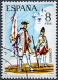 Το γραμματόσημο που τυπώνεται στην Ισπανία παρουσιάζει καταχωρημένη σημαία Zamora 1739 Στοκ εικόνα με δικαίωμα ελεύθερης χρήσης