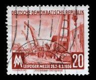 Το γραμματόσημο που τυπώνεται στην ΟΔΓ παρουσιάζει έκθεση ανοίξεων της Λειψίας Στοκ εικόνα με δικαίωμα ελεύθερης χρήσης