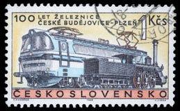 Το γραμματόσημο που τυπώνεται στην Τσεχοσλοβακία, παρουσιάζει εκατονταετία του σιδηροδρόμου τσεχικά Budojevice - Plzen Στοκ Εικόνες
