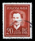 Το γραμματόσημο που τυπώνεται στη Γιουγκοσλαβία παρουσιάζει Silvije Strahimir Kranjcevic Στοκ Φωτογραφία