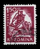 Το γραμματόσημο που τυπώνεται στη Ρουμανία παρουσιάζει φούρνο φυσήματος Στοκ εικόνες με δικαίωμα ελεύθερης χρήσης