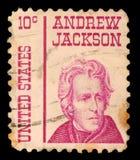 Το γραμματόσημο που τυπώνεται στις Ηνωμένες Πολιτείες της Αμερικής παρουσιάζει Andrew Τζάκσον στοκ εικόνα