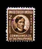 Το γραμματόσημο των Φιλιππινών παρουσιάζει πορτρέτο του Jose Rizal, Κοινοπολιτεία των Φιλιππινών serie, circa το 1946 στοκ εικόνα με δικαίωμα ελεύθερης χρήσης
