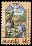 Το γραμματόσημο Χριστουγέννων που τυπώνεται στην Αυστραλία παρουσιάζει Annunciation στους ποιμένες Στοκ φωτογραφίες με δικαίωμα ελεύθερης χρήσης