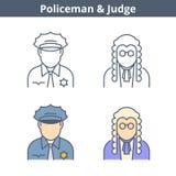 Το γραμμικό είδωλο επαγγελμάτων έθεσε: δικαστής, αστυνομικός Εικονίδια περιλήψεων Στοκ φωτογραφία με δικαίωμα ελεύθερης χρήσης
