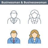 Το γραμμικό είδωλο επαγγελμάτων έθεσε: επιχειρηματίας, επιχειρηματίας λεπτύντε Στοκ Φωτογραφία