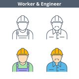Το γραμμικό είδωλο επαγγελμάτων έθεσε: μηχανικός, εργαζόμενος Λεπτύντε το ολοκληρωμένο κύκλωμα περιλήψεων Στοκ εικόνα με δικαίωμα ελεύθερης χρήσης