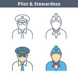 Το γραμμικό είδωλο επαγγελμάτων έθεσε: πειραματικός, αεροσυνοδός Λεπτύντε την περίληψη ι Στοκ εικόνα με δικαίωμα ελεύθερης χρήσης