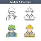 Το γραμμικό είδωλο επαγγελμάτων έθεσε: πυροσβέστης, στρατιώτης Εικονίδια περιλήψεων Στοκ φωτογραφία με δικαίωμα ελεύθερης χρήσης