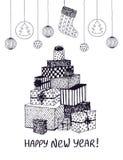 Το γραπτό σκίτσο του νέου έτους παρουσιάζει και δώρα στη μορφή του χριστουγεννιάτικου δέντρου Χέρι που σύρεται διανυσματικό doodl διανυσματική απεικόνιση