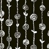 Το γραπτό floral άνευ ραφής σχέδιο με τα τριαντάφυλλα ανθίζει όπως κραγιόνι, την κιμωλία ή το μολύβι παιδιών ` το συρμένο το s απεικόνιση αποθεμάτων