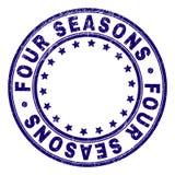 Το γρατσουνισμένο κατασκευασμένο FOUR SEASONS γύρω από τη σφραγίδα γραμματοσήμων διανυσματική απεικόνιση