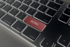 Το γραφείο εισάγει επάνω το κλειδί του πληκτρολογίου στοκ φωτογραφία