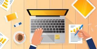 Το γραφείο εργασιακών χώρων επιχειρηματιών δίνει στο λειτουργώντας lap-top το επίπεδο διανυσματικό επιχειρησιακό άτομο απεικόνιση Στοκ φωτογραφίες με δικαίωμα ελεύθερης χρήσης