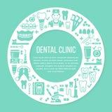 Το γραφείο οδοντιάτρων, orthodontics μπλε ιατρικό έμβλημα κύκλων με το διανυσματικό εικονίδιο γραμμών του οδοντικού εξοπλισμού πρ απεικόνιση αποθεμάτων