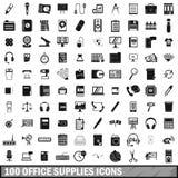 το γραφείο 100 παρέχει τα εικονίδια καθορισμένα, απλό ύφος Στοκ φωτογραφία με δικαίωμα ελεύθερης χρήσης
