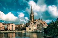 Το γραφικό τοπίο πόλεων στη Μπρυζ, Βέλγιο Στοκ Φωτογραφία