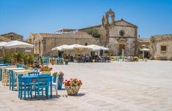 Το γραφικό χωριό Marzamemi, στην επαρχία των Συρακουσών, Σικελία στοκ φωτογραφίες