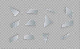 Το γυαλί είναι σπασμένο σε ένα διαφανές υπόβαθρο Διαφάνεια για το γυαλί Η ρωγμή στο παράθυρο Τα μικρά μόρια είναι διανυσματική απεικόνιση