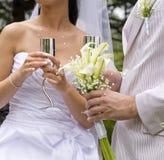 το γυαλί fiance νυφών κρατά το χά&lam Στοκ εικόνα με δικαίωμα ελεύθερης χρήσης