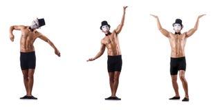 Το γυμνό μυϊκό mime που απομονώνεται στο λευκό Στοκ φωτογραφίες με δικαίωμα ελεύθερης χρήσης