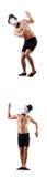 Το γυμνό μυϊκό mime που απομονώνεται στο λευκό Στοκ εικόνες με δικαίωμα ελεύθερης χρήσης