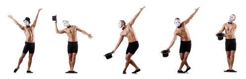 Το γυμνό μυϊκό mime που απομονώνεται στο λευκό Στοκ εικόνα με δικαίωμα ελεύθερης χρήσης