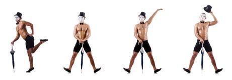 Το γυμνό μυϊκό mime που απομονώνεται στο λευκό Στοκ Εικόνα