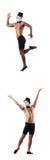Το γυμνό μυϊκό mime που απομονώνεται στο λευκό Στοκ Φωτογραφίες