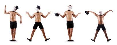 Το γυμνό μυϊκό mime που απομονώνεται στο λευκό Στοκ φωτογραφία με δικαίωμα ελεύθερης χρήσης